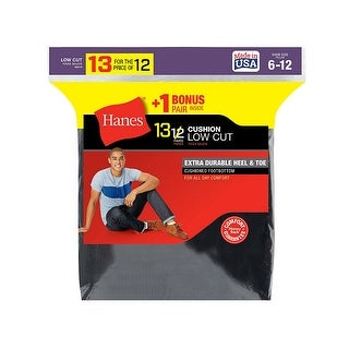 Hanes Men's Cushion Low Cut Socks 13-Pack (Includes 1 Free Bonus Pair)