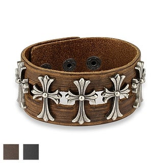 Five Metal Celtic Crosses Center Adjustable Leather Bracelet (Sold Ind.)