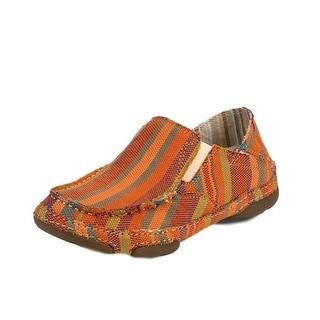 Tony Lama Casual Shoes Womens Oxford Striped Canvas Orange RR3022L