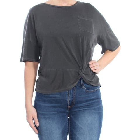 LUCKY BRAND Womens Gray Pocketed Twist Hem Short Sleeve Crew Neck T-Shirt Top Size: L