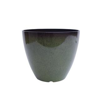 """The Your Choice Patio and Indoor Garden 12"""" Ceramic Resin Planter Pot for growing plants and herbs. 12"""" Planter Pot, Green"""