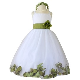 Flower Girl Dresses Rose Petal Wallao White (Baby - 14) Sage Green