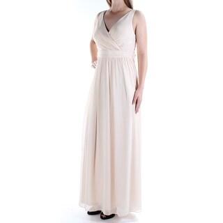 Womens Beige Sleeveless Full Length Sheath Prom Dress Size: 10