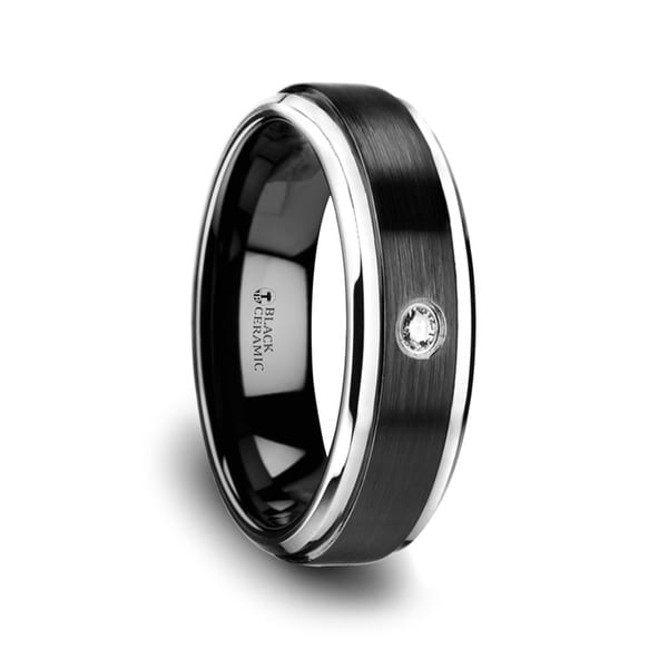 THORSTEN - MONARCH Black Ceramic Diamond Wedding Band with Polished Beveled Step Edges & Raised Brush Center - 6mm