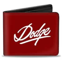Dodge Emblem Script Burgundy White Bi Fold Wallet - One Size Fits most