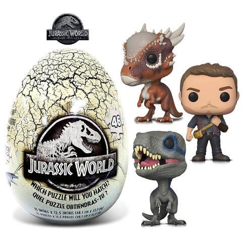 Funko POP Movies Jurassic World 2 Owen, Stygimoloch , Blue and 46 Piece Mystery Egg Puzzle (4 Items)