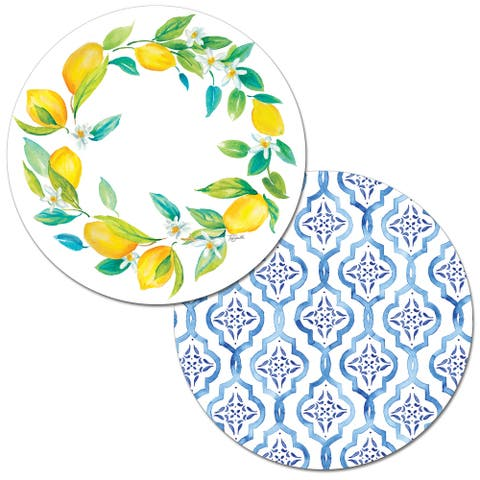 Reversible Wipe-clean Round Shaped Placemats Set of 4 - Lovely Lemons