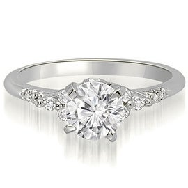 0.70 cttw. 14K White Gold Round Cut Diamond Engagement Ring