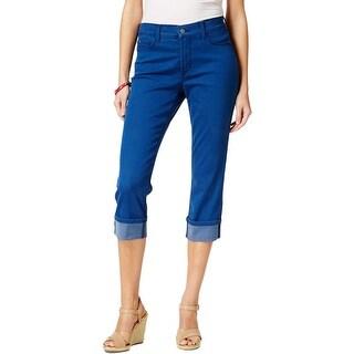 NYDJ Womens Dayla Capri Jeans Denim Wide Cuff