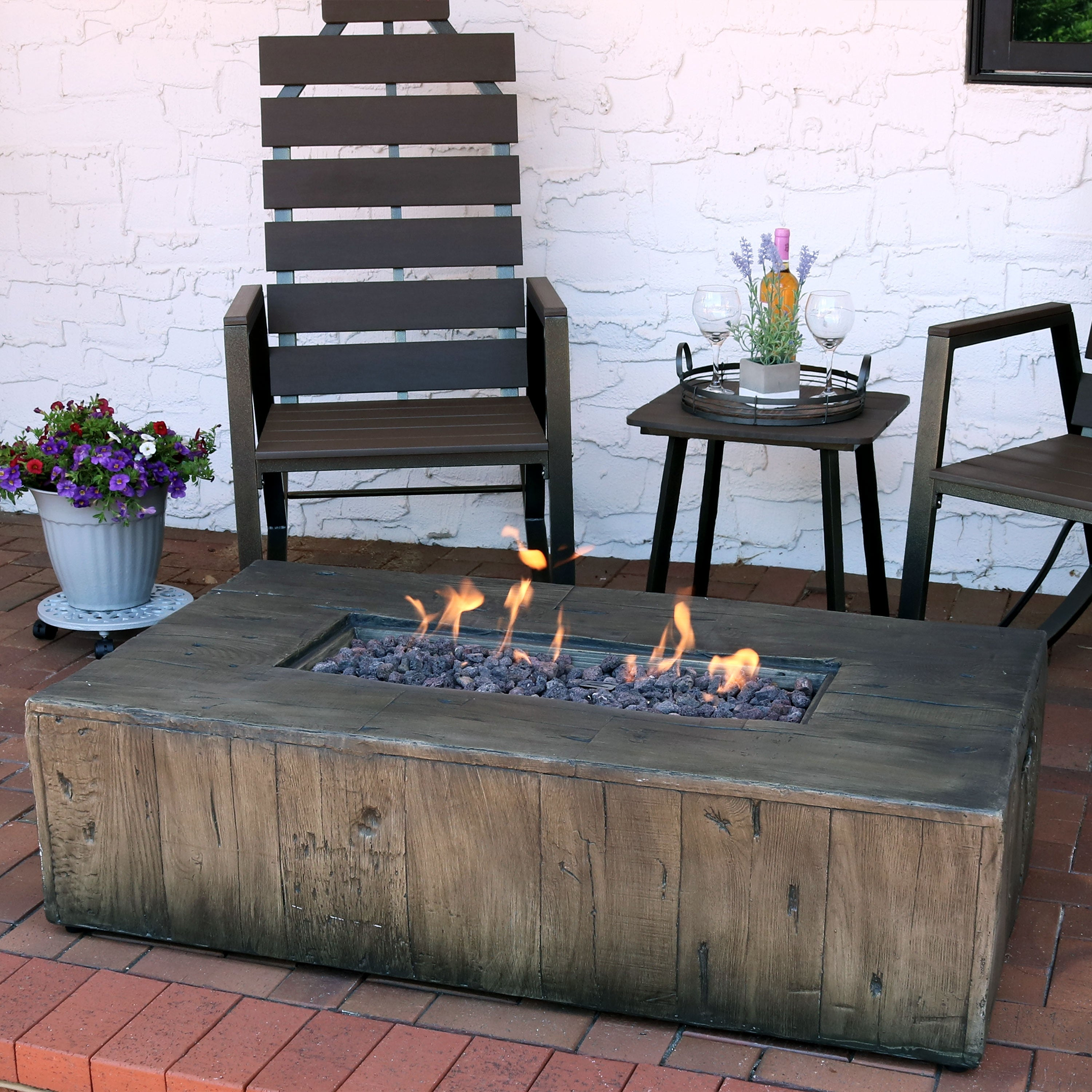 Shop Black Friday Deals On Sunnydaze Rustic Faux Wood Propane Gas Fire Pit Table W Cover Lava Rocks 48 Overstock 22890516