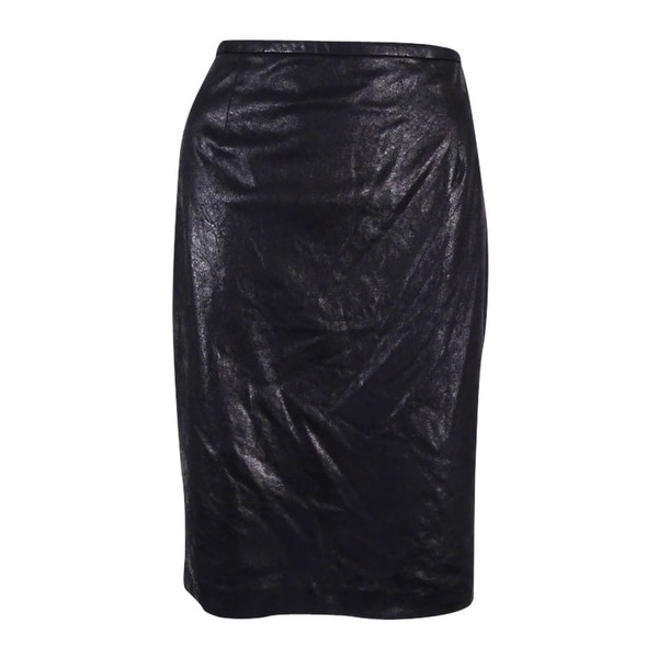 75ee2e9d7c20 Shop Calvin Klein Women's Distressed Faux-Leather Pencil Skirt - Black -  Free Shipping On Orders Over $45 - Overstock - 17778140