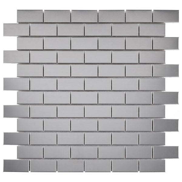 """SomerTile Alloy Subway 11-3/4"""" x 11-3/4"""" x 8 mm Stainless Steel Metal Over Porcelain Mosaic Tile (10 tiles/sqft.). Opens flyout."""