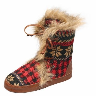 Women's Black and Red Plaid Mid-Calf Lace Up Boots
