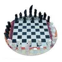 Colorful Animal Print Hand Carved Wood 11.75 inch Round Chess Set - Multicolored