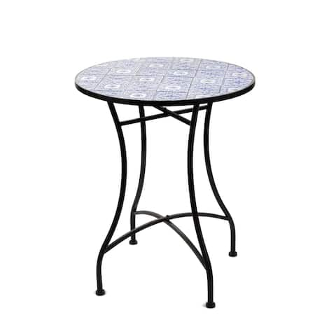 HomeView Design Mixture Flora Mosaic Table w/Ceramic Tile Top, 28-in H