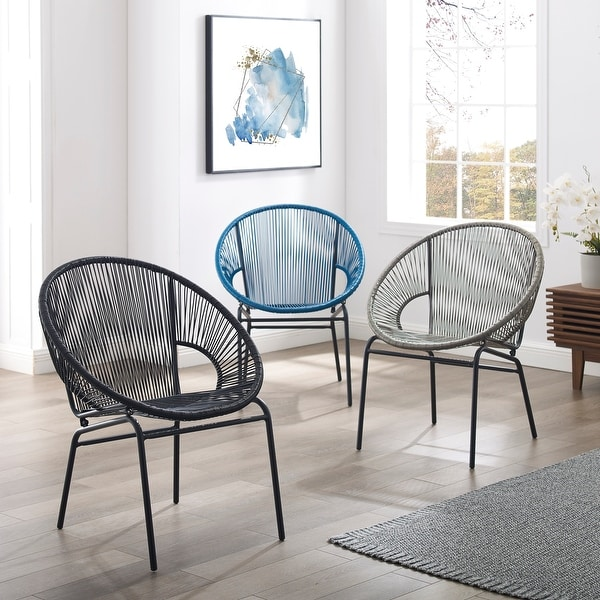 Corvus Sarcelles Woven Wicker Indoor/Outdoor Chairs (Set of 2). Opens flyout.
