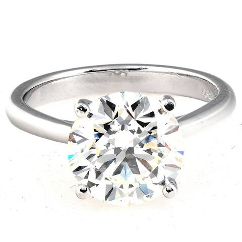 14k White Gold 4ct DEW Moissanite Solitaire Engagement Ring