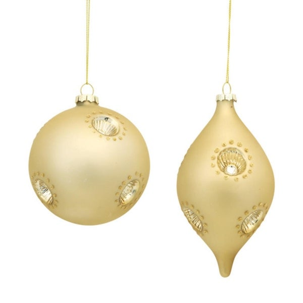 """Set of 6 Golden Colored Finial and Ball Ornaments 6"""""""