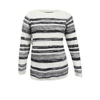 Karen Scott Women's Plus Size Mixed-Stripe Sweater (1X, Winter White Combo) - winter white combo - 1x