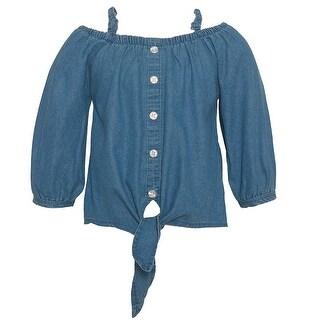 Dollhouse Girls Light Blue Denim Off-Shoulder Knot Detail Denim Top