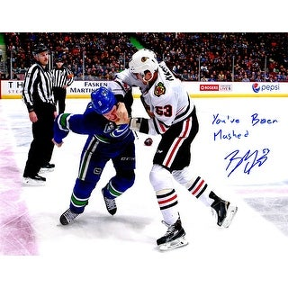 Brandon Mashinter Signed Blackhawks Fighting Forearm Punch 11x14 Photo w/You've Been Mashed