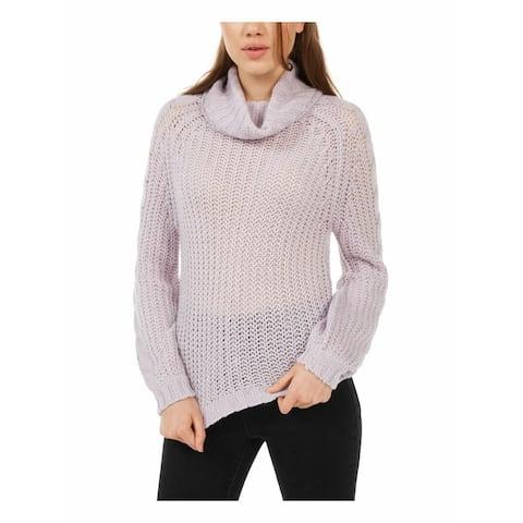 Planet Gold Juniors Women's Cowl-Neck Sweater Purple Size Medium