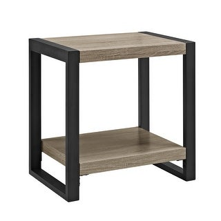 "Delacora WE-BD24UBST  24"" Long Wood and Steel End Table - Driftwood"