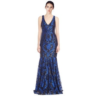 David Meister Embroidered Sequin V-Neck Evening Gown Dress