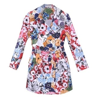 Richie House Little Girls Multi Color Floral Patterned Belted Trench Coat 2-6
