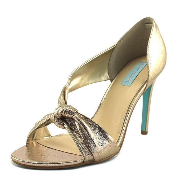 Betsey Johnson Abi Women Open Toe Canvas Gold Sandals