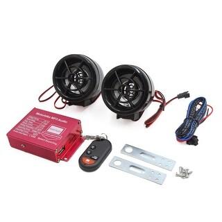 Pair Black Motorcycle MP3 Player Loudspeaker Audio Sound FM Radio Security Alarm