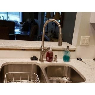 Kraus KBU24 Premier Undermount 32-in 16G 60/40 2-Bowl Satin Stainless Steel Kitchen Sink, Grids, Strainers, Towel