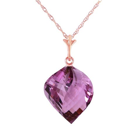 10.75 Carat 14K Solid Gold Necklace Twisted Briolette Amethyst
