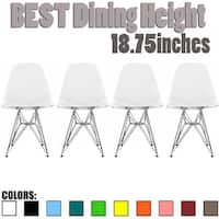 2xhome - Set of 4, Clear Modern No Arm Solid Silver Chrome Wire for Dining Chair Restaurants Office Conference Room - N/A