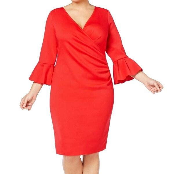 Betsy & Adam Red Women's Size 16W Plus Bell-Sleeve Sheath Dress