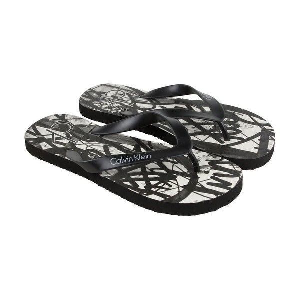 Calvin Klein Anaheim Mens Black Synthetic Flip Flops Slip On Sandals Shoes