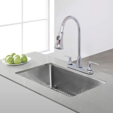 WMF-8201ZNL-CP - Hybrid Metal Deck Kitchen Sink Faucet Double Handle with Pull Down Sprayer Washerless Cartridge (Chrome Finish)