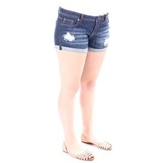 VANILLA STAR Womens New 1037 Navy Frayed Cropped, Cuffed Short Juniors 11 B+B