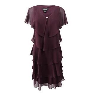 SL Fashions Women's Tiered Rhinestone Capelet Dress (2, Fig) - Fig - 2