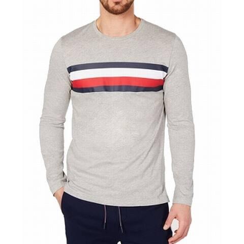 Tommy Hilfiger Mens Sleepwear Gray Size 2XL Nightshirt Stripe Crewneck