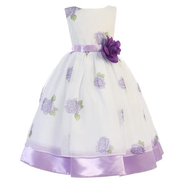 13d59a25a Shop Little Girls Purple Rose Print Chiffon Satin Flower Girl Easter ...