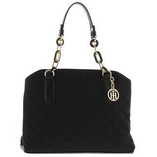 Tommy Hilfiger Womens Isabella Satchel Handbag Quilted Leather Trim - Black - MEDIUM