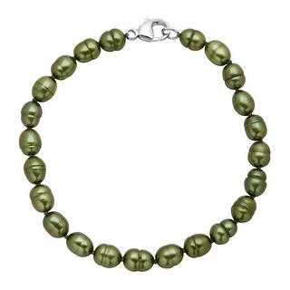 Honora 6-7 mm Forest Green Freshwater Pearl Bracelet in Sterling Silver