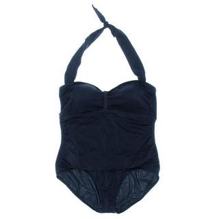 Jantzen Womens Plus Halter Cinch Front One-Piece Swimsuit - 22W