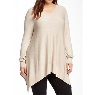 Vertical Design NEW Beige Women's Size 1X Plus V-Neck Sharkbit Hem Sweater