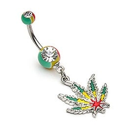 Jamaican Pot Leaf with Jamaican Gem Ball Ends (Sold Ind.)