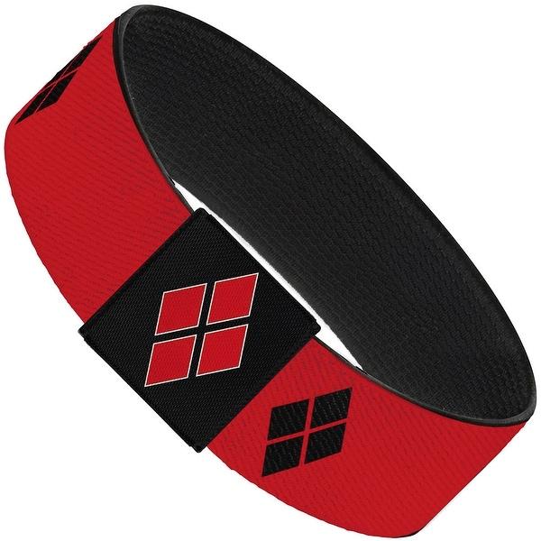 "Harley Quinn Diamond Blocks2 Red Black Red Elastic Bracelet 1.0"" Wide"