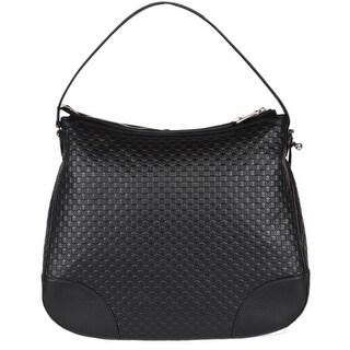 Gucci 449244 Large BREE Micro GG Guccissima Black Leather Purse Hobo Handbag