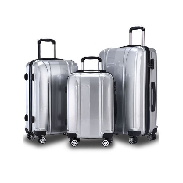 GLOBALWAY 3 Pcs 20'' 24'' 28'' Luggage Travel Set ABS+PC Trolley Suitcase Spinner - Sliver