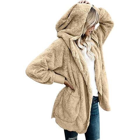 QZUnique Women's Hooded Loose Cardigan Coat Long Sleeves Cotton Lapel Outwear